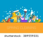 spring cleaning with set of... | Shutterstock . vector #389559331