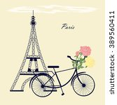 eiffel tower bicycle flowers... | Shutterstock .eps vector #389560411