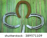 Old Horseshoes On Green Tinted...