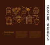 outline style beekeeping ... | Shutterstock .eps vector #389580469