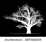 big white tree on black... | Shutterstock .eps vector #389586004