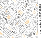 seamless pattern with kitchen... | Shutterstock .eps vector #389598109