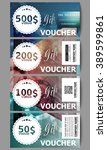 set of modern gift voucher... | Shutterstock .eps vector #389599861