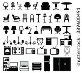 furniture icon set vector... | Shutterstock .eps vector #389600491