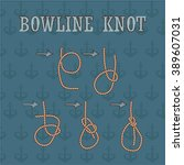bowline knote manual. how to... | Shutterstock .eps vector #389607031