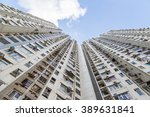 bottoms up view of a highrise... | Shutterstock . vector #389631841