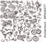 mega collection of hand drawn... | Shutterstock .eps vector #389636377