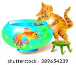 illustration of sly cat who... | Shutterstock .eps vector #389654239