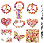 set of hippie backgrounds and... | Shutterstock .eps vector #389672371