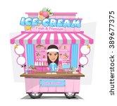 ice cream cart with seller.... | Shutterstock .eps vector #389677375