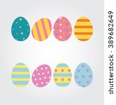 easter eggs icons flat style.... | Shutterstock .eps vector #389682649