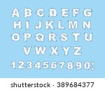 cloud font. abc of white clouds ... | Shutterstock .eps vector #389684377