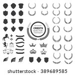 crest logo element set set of ... | Shutterstock .eps vector #389689585