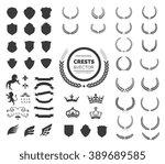 luxury heraldic crests logo... | Shutterstock .eps vector #389689585