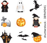 halloween illustration set of... | Shutterstock . vector #38969041