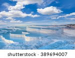 Natural travertine pools and terraces in Pamukkale. Cotton castle in southwestern Turkey,