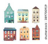 set of city buildings  shops... | Shutterstock .eps vector #389700919