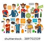 farmer  horticulturist or... | Shutterstock .eps vector #389702539