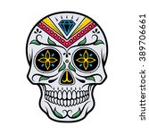 vector illustration of skull... | Shutterstock .eps vector #389706661