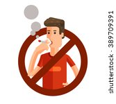 no smoking sign on white... | Shutterstock .eps vector #389709391