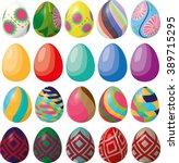 Flat Colored Easter Eggs Vecto...
