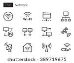 network vector icon set thin... | Shutterstock .eps vector #389719675