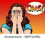 surprised omg shocked woman | Shutterstock .eps vector #389722981
