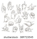 vector set of hands and... | Shutterstock .eps vector #389723545