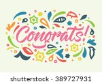 congrats calligraphy  pattern | Shutterstock .eps vector #389727931