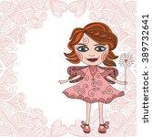 beautiful fairy cute cartoon... | Shutterstock .eps vector #389732641
