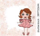 beautiful fairy cute cartoon... | Shutterstock .eps vector #389732644