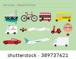 map icons of transportation... | Shutterstock .eps vector #389737621