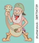 funny old man singing at... | Shutterstock .eps vector #389754739