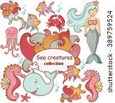 beautiful sea collection of sea ... | Shutterstock .eps vector #389759524