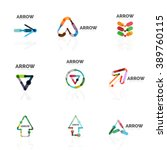 set of linear arrow abstract... | Shutterstock .eps vector #389760115