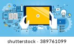 flat line design website banner ... | Shutterstock .eps vector #389761099