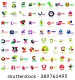 mega set of paper logo abstract ... | Shutterstock .eps vector #389761495