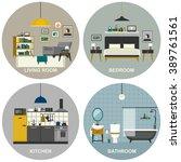 interiors of living room ... | Shutterstock .eps vector #389761561