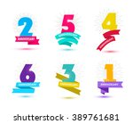vector set of anniversary... | Shutterstock .eps vector #389761681