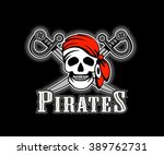 pirate in red band ana  pirate... | Shutterstock .eps vector #389762731