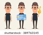 cute cartoon thieves. vector set | Shutterstock .eps vector #389763145