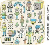 funny wacky doodle hipster... | Shutterstock .eps vector #389772949