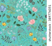 spring flowers. floral seamless ... | Shutterstock .eps vector #389776051