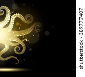 abstract golden tentacles on a... | Shutterstock . vector #389777407