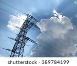 high voltage tower on blue sky. ... | Shutterstock . vector #389784199