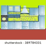 design of kitchen.  vector... | Shutterstock .eps vector #389784331