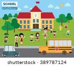 parents take their children to... | Shutterstock .eps vector #389787124