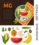 set of magnesium and useful... | Shutterstock .eps vector #389793424