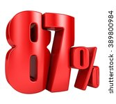 87 percent 3d in red letters on ... | Shutterstock . vector #389800984