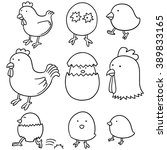 vector set of chicken and egg | Shutterstock .eps vector #389833165